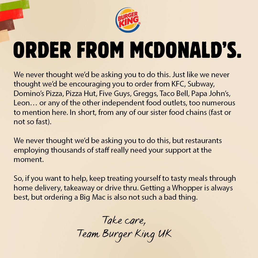 covid social network advertisement burger king